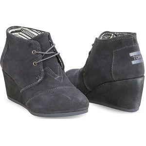 EUC Toms grey suede desert wedge booties 8.5